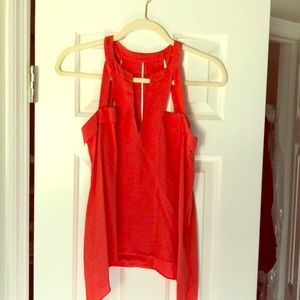"BCBG 100% silk red ""poppy"" tank top"